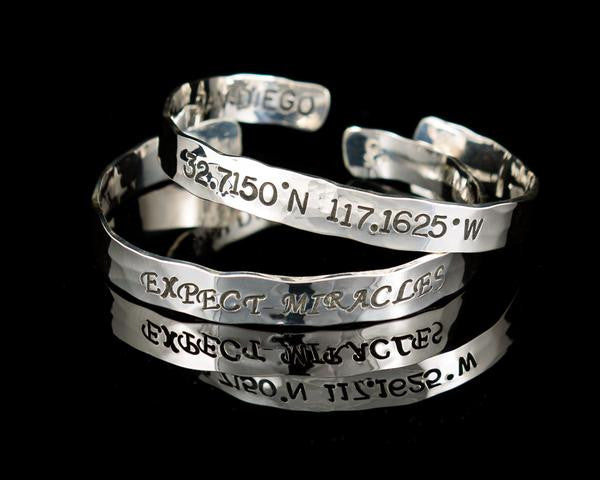 message thick rus personalized product stamped custom hand bangles bangle men s cuff hammered silver hidden bracelet mens