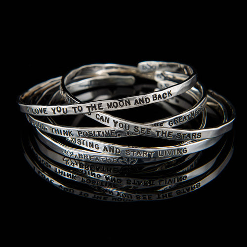 Bangles with Quotes - Silver, Rose Gold and Yellow Gold
