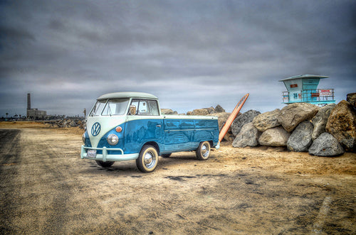 VW Bus and Surfboard 2