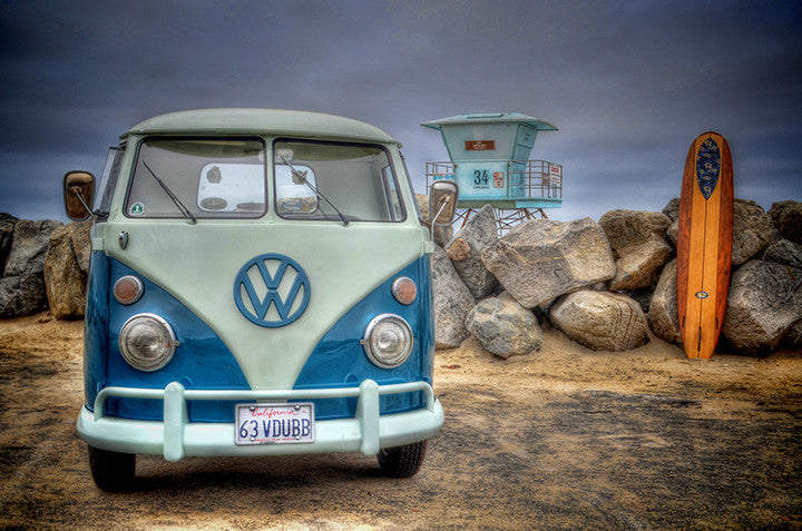 VW Bus and Surfboard