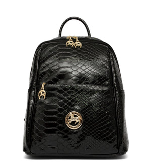 Black Patent Leather Backpack