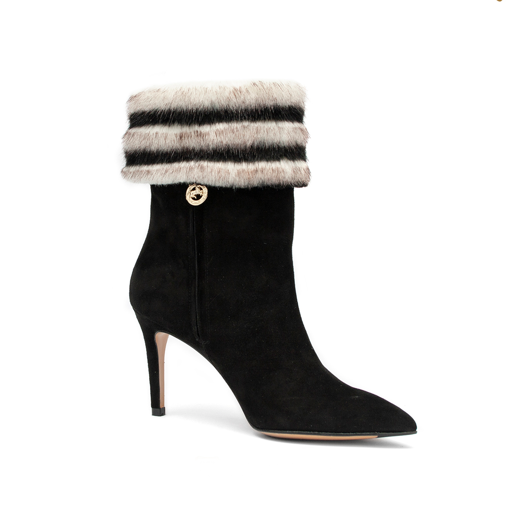 Black And White Fur Ankle Boots