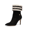Black & White Fur Ankle Boots - Size 35