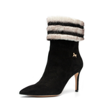 Black And White Fur Ankle Boots - Use code BOGOSHOE at checkout