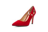 Suede Pump Red