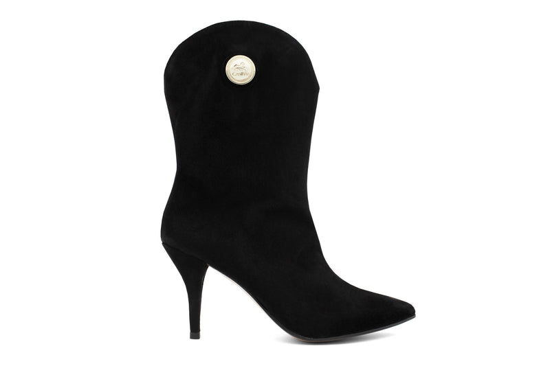 Black Suede High Heel Boots
