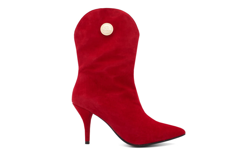 Red Suede High Heel Boots