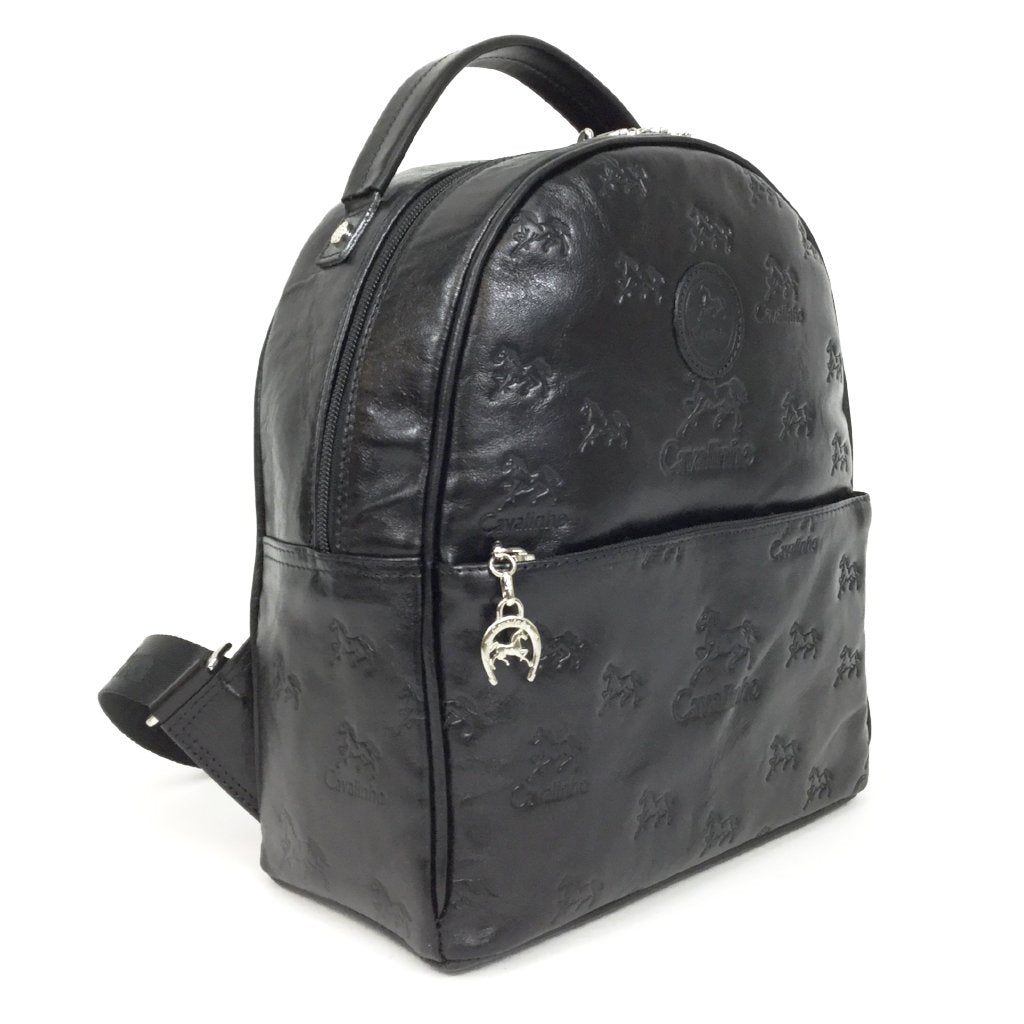 Black Leather Embossed Backpack
