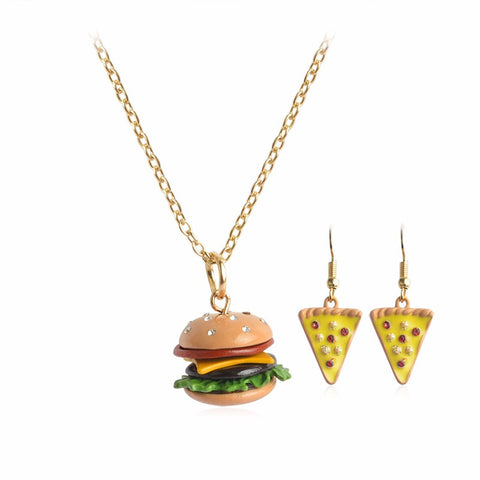 Burger and Pizza Necklace and Earrings Set