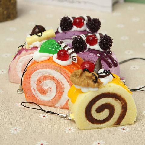 Cake Roll ( jelly roll ) Squishy Keychain