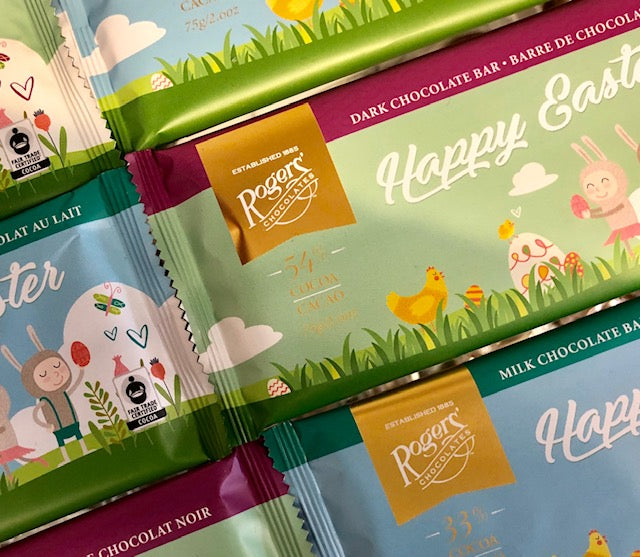 Rogers' Dark Happy Easter Chocolate Bar