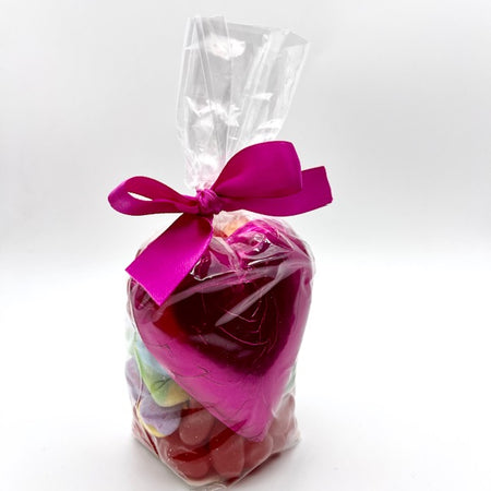 White, Treat Bag with Large Chocolate Heart and Mixed Candy