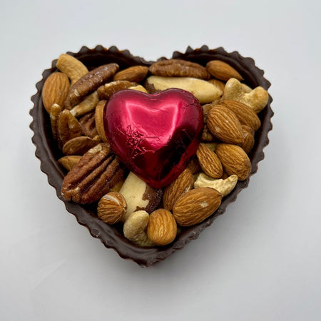 Dark, Chocolate Heart with Deluxe Nuts and a Large foiled Chocolate Heart