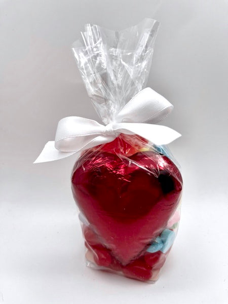 Dark, Treat Bag with Large Chocolate Heart and Mixed Candy