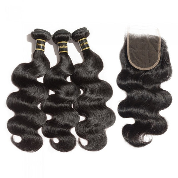 4*4 Body Wave Free Part Closure 3 Bundles Body Wave