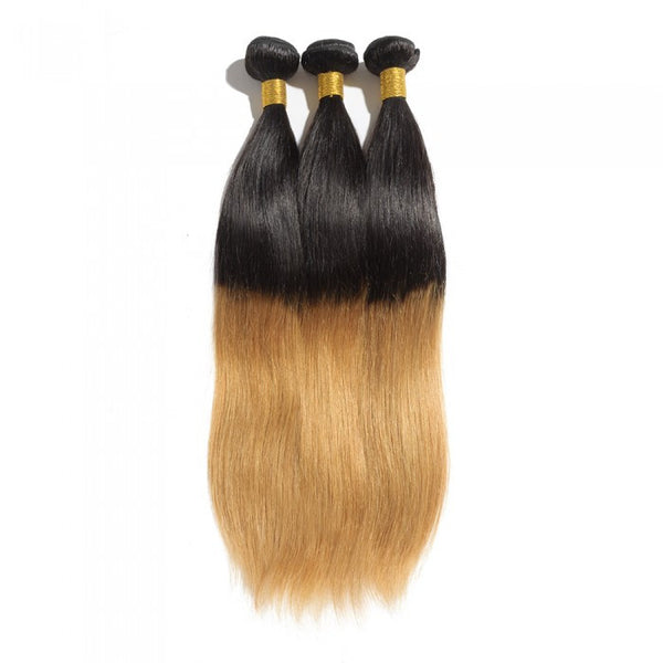 Ombre Brazilian  Straight  Hair Two Tone T1B/27 - WeavXtensions