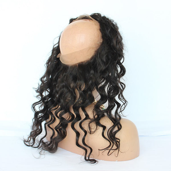 22x4x2   Loose Wave #1B  Virgin Brazilian 360 Lace Frontal - WeavXtensions