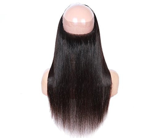 22x4x2  Straight #1B Virgin Brazilian 360 Lace Frontal - WeavXtensions