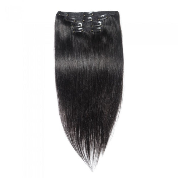 10pcs Straight Virgin Brazilian Clip In - WeavXtensions