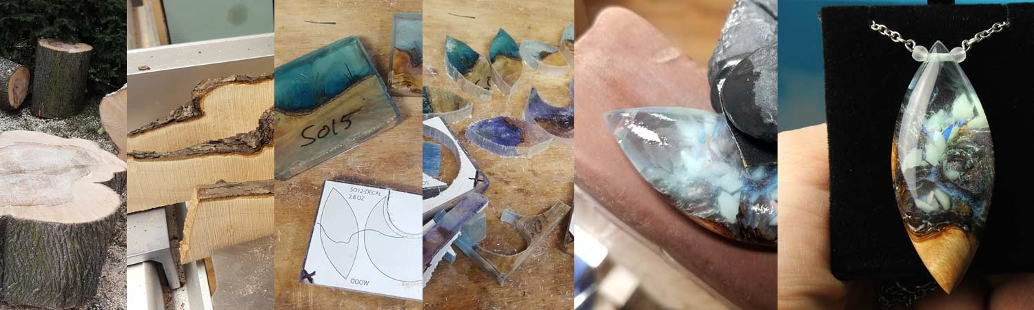 cut branch resin and wood jewelry creation steps