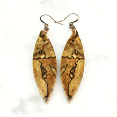 a completely finished pair of spalted maple book-matched earrings