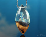crystal fantasy terrarium pendant, handmade resin and wood