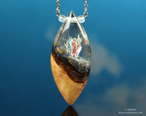 crystal resin and wood pendant necklace, handmade by cut branch
