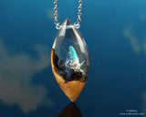 Aqua Crystal World in resin and wood necklace
