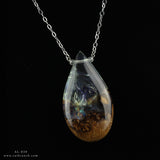 handmade teardrop resin wood necklace