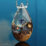 Ocean life terrarium resin necklace
