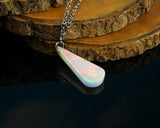 aurora opal teardrop pendant necklace showing play of color