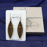 wood dangle earrings handmade in usa black locust wood