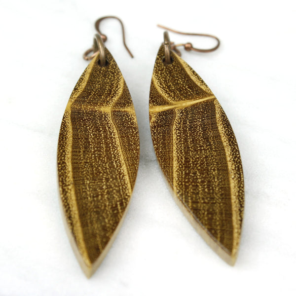 dark wood dangle earrings, black locust wood earrings