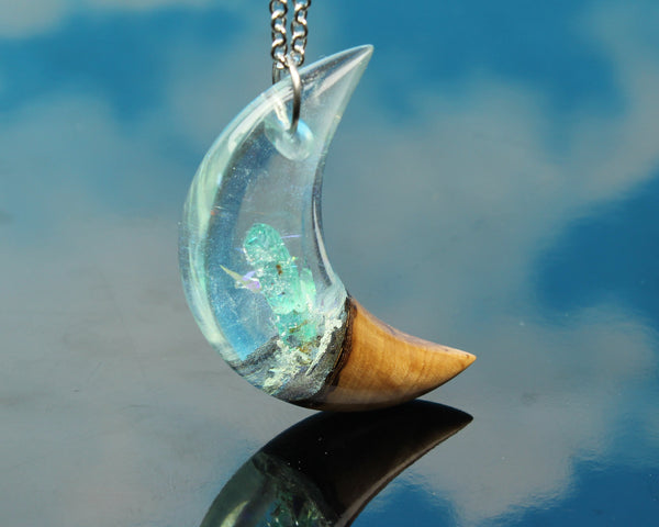 phantom crystal moon resin and wood pendant necklace by cut branch jewelry