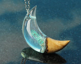 wizard cosplay jewelry, crescent moon witch moon necklace