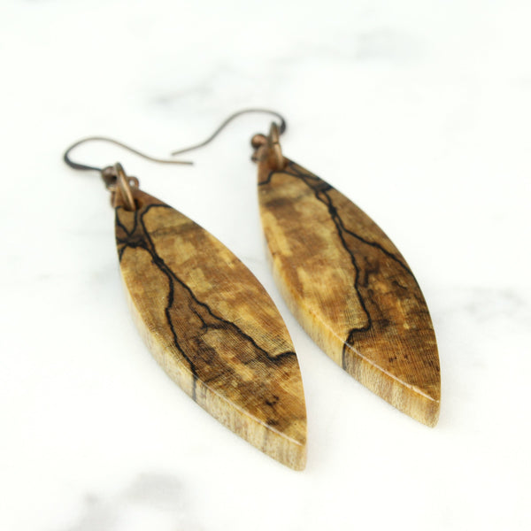spalted maple wood dangle earrings, handmade jewelry