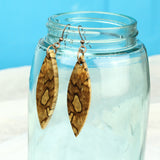 handmade wood dangle earrings, reclaimed wood jewelry