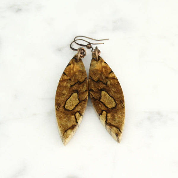 reclaimed maple wood earrings, cut branch wood jewelry