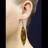 handmade wood dangle earrings, maple wood jewelry by cut branch