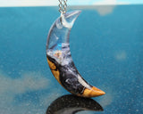 boho chic moon pendant, handmade jewelry in resin and wood