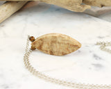 Japanese Maple Wood Pendant, Long Chain Necklace