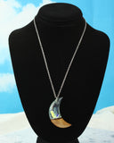 resin and wood moon necklace, handmade jewelry