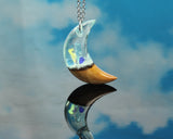 resin and wood moon necklace by cut branch