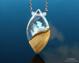White Aurora Opal Resin and wood pendant
