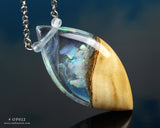 opal crystal terrarium pendant resin and wood jewelry