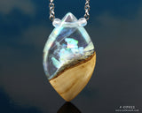 white opal terrarium necklace resin and wood jewelry pendant