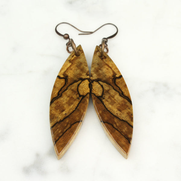 unique pattern wood earrings, boho style wood jewelry by cut branch
