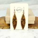 Cut branch spalted wood dangle earrings