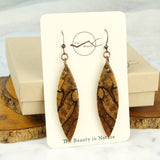 cut branch reclaimed wood dangle earring gift box