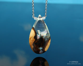 Opal crystal resin and wood necklace